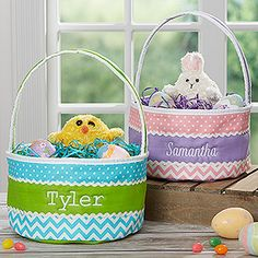 CUTE CUTE CUTE! I LOVE these personalized soft Easter Baskets! The chevron pattern is so cute and you can have them embroidered with any name in any font and thread color!