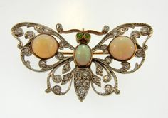 Antique Edwardian Opal, Diamond And Gold Butterfly Brooch