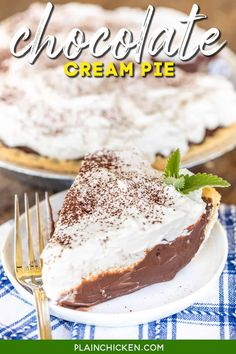 Chocolate Cream Pie - the BEST homemade chocolate pie EVER! Perfect for holidays and get-togethers. Chocolate chips, butter, vanilla, sugar, corn starch, cocoa powder, egg yolks, heavy cream, milk, pie crust. Top the pie with a quick homemade whipped cream. You can make the filling in advance and refrigerate until ready to assemble and serve the pie. One bite and you will never make another chocolate pie again! #pie #chocolate #potluck #dessert Homemade Chocolate Pie, Chocolate Pie Filling, Chocolate Pies, Chocolate Cream, Dessert Chocolate, Great Desserts, Delicious Desserts, Pie Dessert, Dessert Recipes