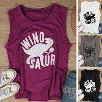 Wish | New Fashion Women Sleeveless Casual Letter Printed Winosaur Dinosaur Tank Top T-shirt