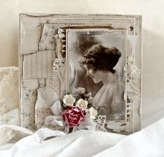 Vintage Photo Card With Pieces of Lace, Paper, & Flowers