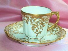 1906 Limoges Jean Pouyat Mark Tea Cup & Saucer in Gold