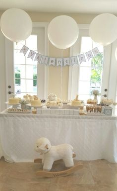 White elegant baby shower.