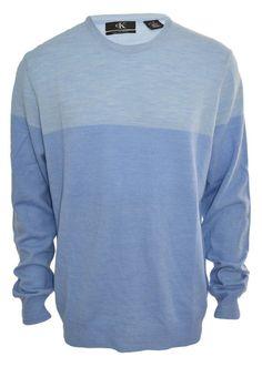 Calvin Klein Mens Merino Wool Sweater Crew Neck Long Sleeve Ribbed Baby Blue NEW