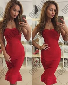 It's arrived! A girl should be two things, classy and fabulous and this flattering strapless, bandage midi dress is just that! Available in dusky pink, red and black, this dress does everything for your figure. From in-built bustier cups to an elegant mermaid fishtail hem, this midi won't disappoint in delivering the sex appeal, always in a classy way of course! Team with pointed courts and tumbling locks for the complete celeb inspired look! Sexy yet classy strapless midi dress with bu...