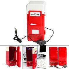 Sidiou Group Handliche Mini-USB-Kühlschrank Cooler Gadget Beverage Getränkedosen Kühler / Wärmer Kühlschrank rot