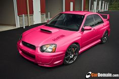 Subaru Impreza WRX STI in pink! Omgg I want do bad! This will make my boyfriend do happy haha