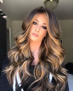 Long Wavy Ash-Brown Balayage - 20 Light Brown Hair Color Ideas for Your New Look - The Trending Hairstyle Brown Blonde Hair, Brown Hair With Highlights, Light Brown Hair, Brown Hair Colors, Copper Blonde, Blonde Highlights, Dyed Curly Hair, Long Curly Hair, Curly Hair Styles