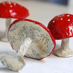 grrl+dog: How to make paper mache toadstools. Thank you girl+dog! The definitive tutorial on making papier mâché shapes. Paper Clay, Diy Paper, Paper Crafting, Paper Art, Diy For Kids, Crafts For Kids, Arts And Crafts, Diy Crafts, Paper Mache Projects