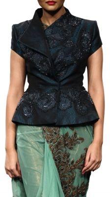 Embroidered Jacket in Dark Navy   Strandofsilk.com - Indian Designers