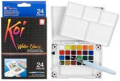 SAKURA Koi Water Colors | Aquarel pocketbox (24 kleuren + hervulbaar penseel)