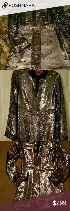 Tory Burch Full Sequin Mini STUNNING NWOT! This dress is so flipp'n cute I JUST LOVE IT  Unfortunately its too big It was when I got it but then I lost a weight and now its even bigger Color isnt showing well but Id say its a light gunmetal-ish silver Also it's hard to see but the sequins going down the front across and at the waist are a smaller in size to add more detail Side zip entry Small hook at top of the front if you'd like to close or leave open No missing sequins & Never worn…