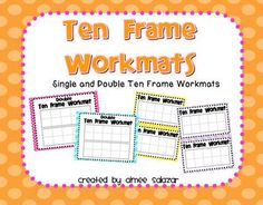 Free printable Ten Frame Workmats. The ten frames are generously sized to accommodate a variety of manipulatives including plastic coins, round counters, buttons, bear counters, or whatever else you can think of!