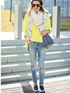 Yellow sweater, distressed jeans, scarf, navy slip on sperry. Stitch fix. Spring 2016