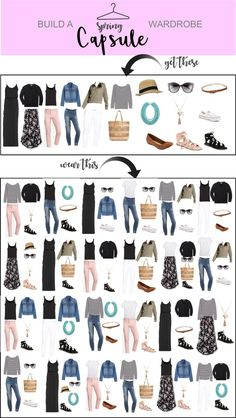 Spring Capsule Wardrobe – Just Posted - How to build and create a perfect Spring Capsule wardrobe! Create a bunch of different looks with these pieces. Capsule Wardrobe Work, Capsule Outfits, Fashion Capsule, Mode Outfits, Fashion Outfits, Wardrobe Basics, Staple Wardrobe Pieces, Capsule Wardrobe How To Build A, Professional Wardrobe