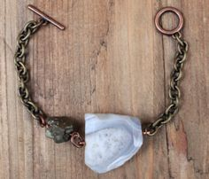 Agate and Pyrite Bracelet| look up those stones