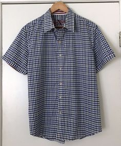 6be313bc2c4 Robert Graham XXL Short Sleeve Shirt Blue Check Tailored Fit 100% Cotton   RobertGraham  ButtonFront