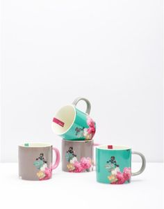 Bloom Multi Set of Four Printed Mugs , Size One Size   Joules UK
