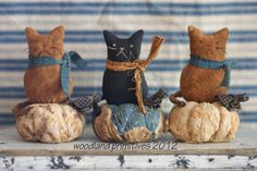 Woodland Primitives: ~pinkeeps~ little folk art cats ;-)