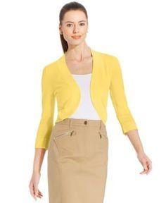 Jessica Howard Bolero Cardigan - Yellow XL