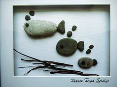 Fish Family Pebble Art Gift Custom Pebble Art by PebbleRoadStudio