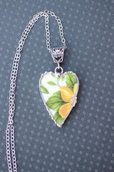 Broken China Jewelry Pendant Necklace Elongated Heart Yellow Flower Chintz Sterling Silver