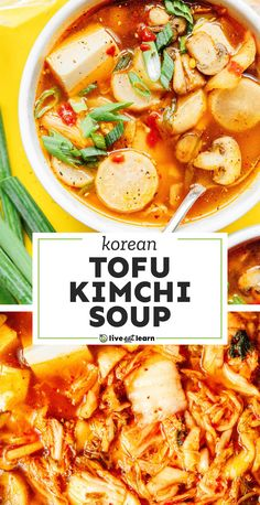 Loaded with flavorful veggies, silken tofu, and kimchi, this Kimchi Soup recipe (Kimchi-jjigae) is an easy vegetarian stew for busy weeknights! Packed with flavor, healthy, and perfect for the whole family. #koreanfood #soup #stew #kimchi #vegan # vegetarian Vegetarian Stew, Best Vegetarian Recipes, Veggie Recipes, Asian Recipes, Soup Recipes, Dinner Recipes, Healthy Recipes, Ethnic Recipes, Healthy Food