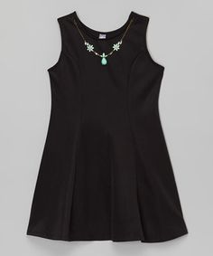 Black Necklace A-Line Dress