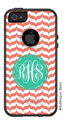 OTTERBOX Commuter iPhone 5 5S 5C 4/4S Case Salmon Marble Chevron Scalloped Letter Initials Name Personalized Monogram on Etsy, $59.90<3