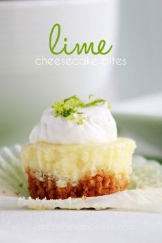 Start spring with these adorably delicious lime cheesecake bites! Easter Recipes, Appetizer Recipes, Dessert Recipes, Appetizers, Cupcake Recipes, Cheesecake Mix, Cheesecake Recipes, Cupcakes, Cupcake Cakes