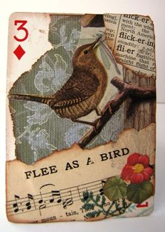ATC Altered Playing Card Atc Cards, Bingo Cards, Card Tags, Paper Cards, Playing Card Crafts, Playing Cards Art, Vintage Playing Cards, Art Journal Pages, Journal Cards