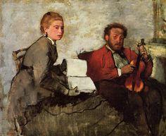 "artist-degas: ""Violinist and Young Woman via Edgar Degas Medium: oil on canvas"""