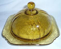 Madrid Amber Depression Glass...  Butter Dish