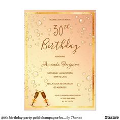 Shop birthday party gold champagne bubbles glam invitation created by Thunes. 30th Birthday Party For Her, 60th Birthday Party Invitations, 80th Birthday, Birthday Ideas, Gold Champagne, Diy, Announcement, Postcards, Bubbles