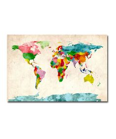 Watercolor World Map Gallery-Wrapped Canvas