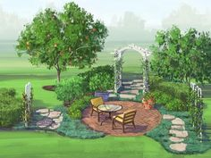 Landscape Plan: Fruit Garden.  Why not create a beautiful patio getaway that will also supply you with fresh and healthy desserts? Use this free landscape plan to create a sweet retreat close to home!