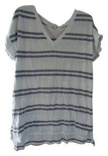 Gap Hi-low Tall T Shirt Gray Stripe