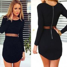 Sexy Womens Bodycon Long Sleeve Slim Cocktail Party Short Dress BK/XXL -Free Shipping for all to over 200 countries on Malloom.com