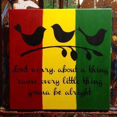 Bob Marley Three Little Birds 12x12 Acrylic by PeaceLoveNCanvas, $25.00