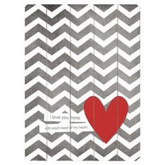 Plank-style wood wall art with a chevron and heart motif and typographic quote. Ready-to-hang with included sawtooth hanger.  Product: Wall artConstruction Material: Wood Features:  Great addition to any roomReady to hang Note: Hanging hardware includedCleaning and Care: Wipe with damp cloth
