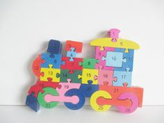 Wooden jigsaw/puzzle with numbers and letters,colorfull educational toy, | eBay