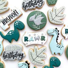 3rd Birthday Party For Boy, First Birthday Cookies, Dinosaur Birthday Party, Personalized Cookies, Custom Cookies, Dinosaur Cookies, Cookies For Kids, Baby Shower Cookies, First Birthdays