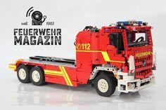Coole Bauanleitung für einen Wechselladerfahrzeug mit Abrollbehälter-Mulde bauen aus Lego. Feuerwehrautos zum Selberbauen!