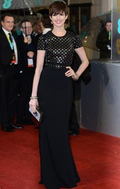 Anne Hathaway Style & Dress Burberry Prorsum Studded Crepe Gown Look For Less