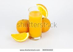 Natural orange juice and oranges whole and sliced