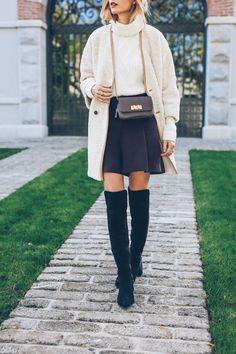 Jess Kirby styling over the knee boots for fall