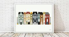 houses illustration, houses print, houses printable, city print, cityscape print, digital illustration,nursery decor, wall art print, houses