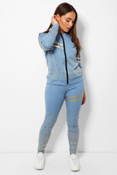 WOMEN'S 2 PCS BLUE FLECKS DOUBLE STRIPE TRACKSUIT  UNIQUE TO OUR STORE  -Makes you looks chic, stylish, vibrant -Pull On Zip closure - Classy high quality fabric, breathable, skin-friendly, comfortable to wear. -It is made of high-quality soft fabric, comfortable to wear. -Soft, breathable, flexible for all day relaxing comfort... Cool Trainers, High Street Trends, Studded Handbags, Looks Chic, Office Dresses, Sexy High Heels, Casual Jeans, Daily Wear