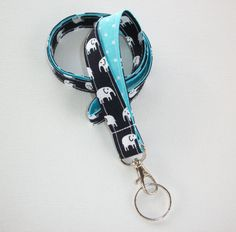 Elephant Lanyard ID Badge Holder - navy blue Black and white elephants with white pin polka dots on aqua - Lobster clasp and key ring