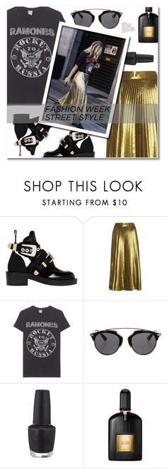 """NYFW Street Style"" by sunshineb ❤ liked on Polyvore featuring Balenciaga, MadeWorn, Christian Dior, OPI and Tom Ford"